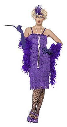 Smiffys 44677M - Damen Flapper Kostüm, Größe: 40-42, - Für Erwachsene Lila Flapper Kostüm