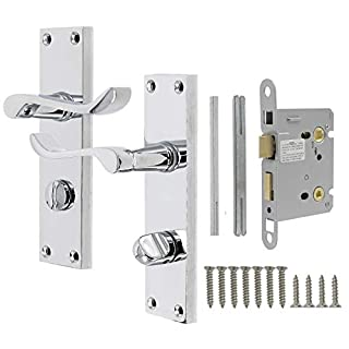 Probrico Victorian Scroll Chrome Door Handle Latch Internal Privacy Door Lever on Backplate 154mm X 40mm for Bedroom and Bathroom 65mm Latch