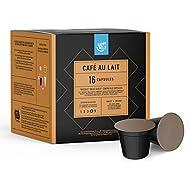 Amazon Brand - Happy Belly Café au Lait coffee pods compatible with NESCAFÉ* DOLCE GUSTO*, 3x16 capsules (48 servings)