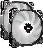 Corsair AF140 LED High Airflow LED PC-Gehäuselüfter (120mm, mit Hydraulik-Lager, Dual Pack) weiß