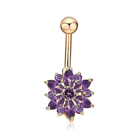 FushoP Chrysanthemum Flower Cubic Zirconia Belly Button Ring Piercing Piercing Bijoux Corps (Or / Pourpre)