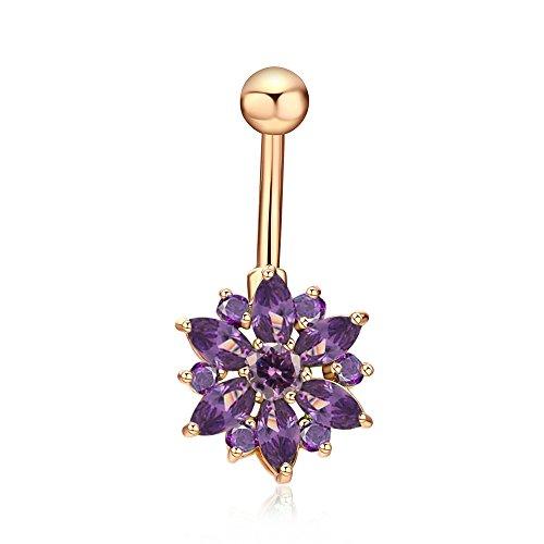 FushoP Chrysantheme Blume Zirkonia Bauchnabel Ring Nabel Piercing Körper Schmuck (Gold / Lila)