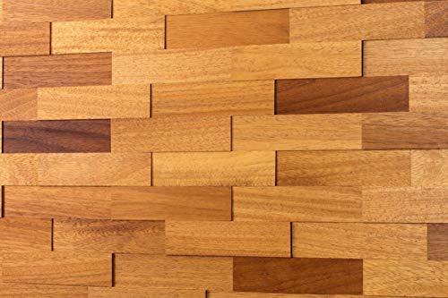 wodewa Wandverkleidung Holz 3D Optik I Iroko I 1m² Wandpaneele Moderne Wanddekoration Holzverkleidung Holzwand Wohnzimmer Küche Schlafzimmer I Geölt