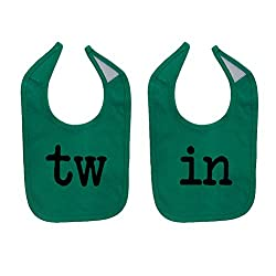 Mashed Clothing Unisex-Baby TW & IN Funny Twin Babies Cotton Baby Bib Set (2-Pack) (Kelly Green)