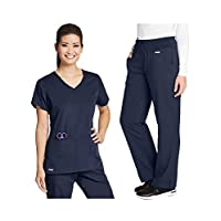 Grey's Anatomy 41423-4276 Women's Active Top - Yoga Pant Medical Scrub Set Steel XS-XS