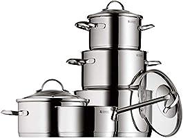 WMF Provence Plus Pannenset, 5-delig met glazen deksel, kookpan, steelpan, Cromargan gepolijst roestvrij staal