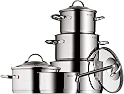 WMF Provence Plus pot set, 5 parts, Cromargan polished stainless steel, pots with glass lid, induction pots, casserole, pot induction, uncoated, suitable for baking