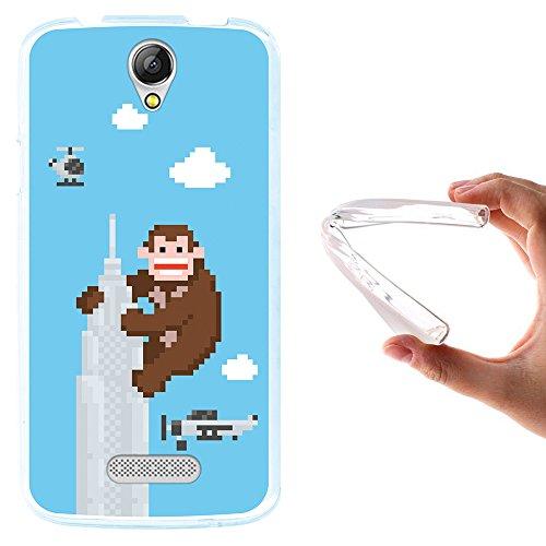 WoowCase Doogee X6 - X6 Pro Hülle, Handyhülle Silikon für [ Doogee X6 - X6 Pro ] Pixel- Gorilla im Wolkenkratzer Handytasche Handy Cover Case Schutzhülle Flexible TPU - Transparent