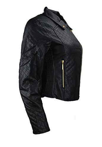 Femmes en faux cuir noir matelassé. Avec de coutures. Black