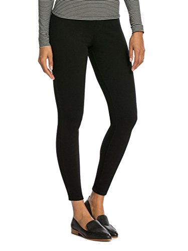 Spanx Womens Indigo Knit Cropped Leggings with Inner Mesh Shaping Panty Black