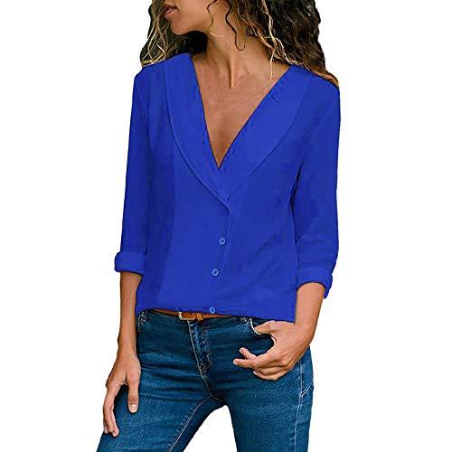 Mini-punkt-kragen-hemd (Dragon868 Damen Knöpfe Langarm Hemdbluse Einfarbig Business Hemd Herbst Revers Kragen Bluse)