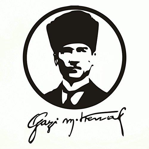 ATATÜRK GAZI Kemal Autoaufkleber Sticker Wandtattoo Wandaufkleber MacBook pro Air Aufkleber Mustafa Kemal Kopf (Schwarz, 20 cm)