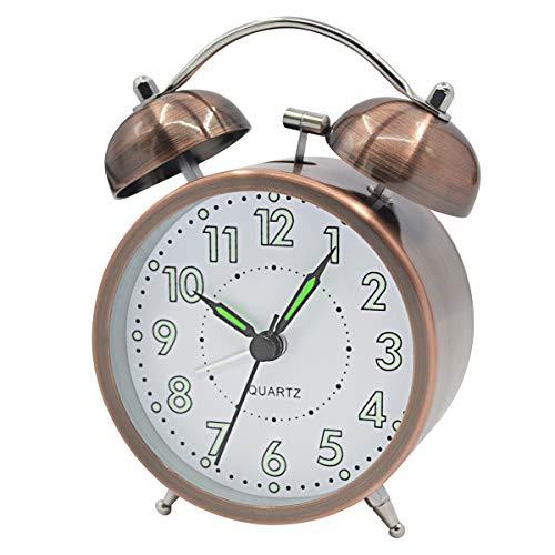 Coolzon® Reloj Despertador Doble Campana Clásico de Pilas con Loud, de Silencioso Analógico de Cuarzo sin Hacer Tictac Despertador con Luz Nocturna Luminoso