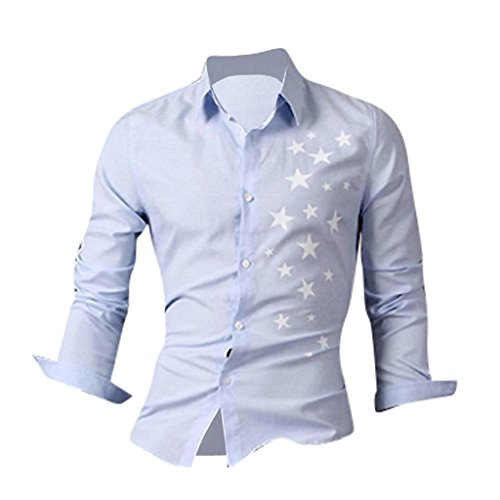 jeansian Herren Freizeit Hemden Shirt Tops Mode Langarmshirts Slim Fit 8513 Lightblue