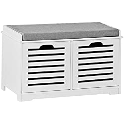 SoBuy Banco de Almacenamiento con Cojines y 2 Cubos de Entrada del gabinete Dresser Zapato Cómodo Banco FSR23-K-W, ES