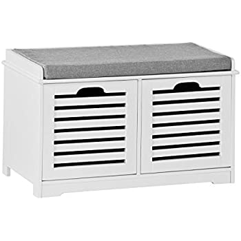 SoBuy White Storage Bench With 2 Drawers U0026 Removable Seat Cushion, Shoe  Cabinet Shoe Bench
