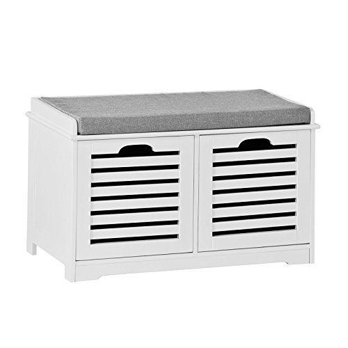 Sobuy® scarpiera da ingresso, panchina con cuscino e cestini,bianco, fsr23-k-w,it