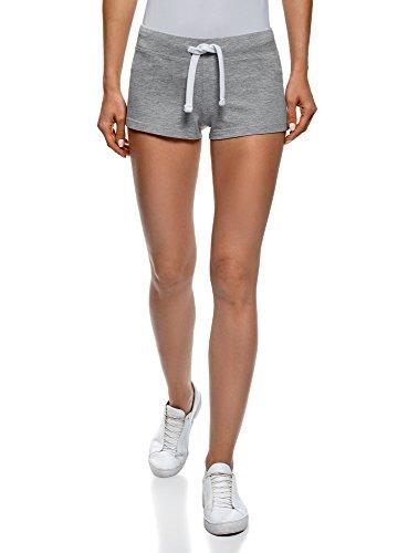 oodji Ultra Damen Jersey-Shorts Basic, Grau, DE 42 / EU 44 / XL