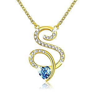 Yellow Chimes Crystals from Swarovski 22K Gold Plated Heart Crystal S Alphabet Pendant for Women and Girls