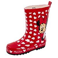 Disney Minnie Mouse 3D Rubber Wellington Boots Kids Character Red Hearts Rain Snow Wellies