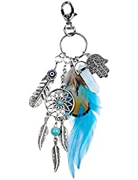 Generic Dreamcatcher with White Stone & Feather Charm Keyring Key Chain Keyfob