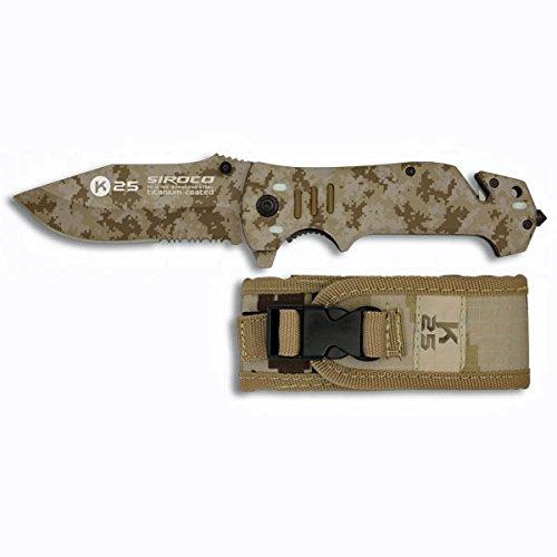 K25 19760. Coltello da tasca camo marrone. Impugnatura in alluminio. Include rottura vetro e taglia cinture. Caccia