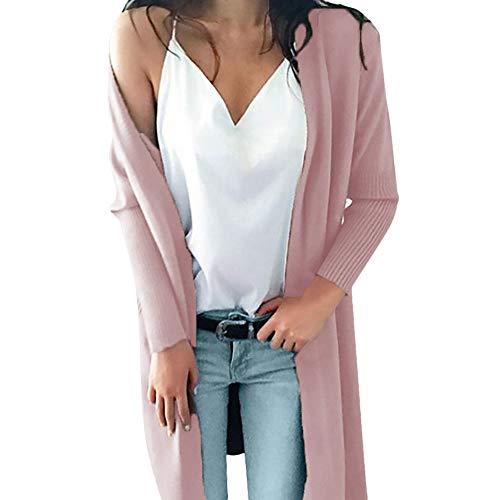 iHENGH Damen Winter Warm Bequem Mantel Lässig Mode Frauen Lose Lange Hülsen Feste Taschen strickten Langen Pullover Jacke übersteigt Bluse(Rosa,M) -