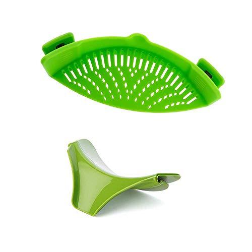 Colador de silicona con clip, embudo de sopa para sartén de tamaño universal, material de grado FDA...