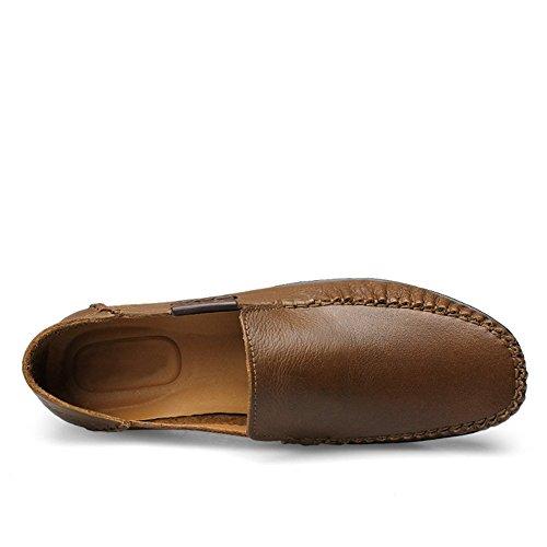 Shenn Homme Conduire UNE Voiture Glisser Sur Confort Cuir Mocassins Chaussures Kaki