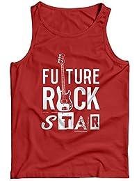 LaMAGLIERIA Camiseta de Tirantes Hombre Bass Future Rockstar White Print - 100% algodòn