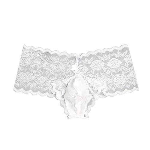 Hot Sexy Mens Lace Unterwäsche Sissy Grid Thong Seamless Enhance Pouch Bikini Slips Hosen Herren Unterwäsche 5 Farben Drop Shipping White XXL - Mens Seamless Bikini-unterwäsche