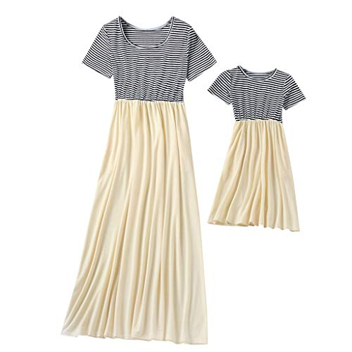 ochter passende Kleidung Mama, ich Frauen Kurzarm Oansatz Spleißen Rock Familie Kleidung Kleid ()