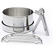 Camping Cook Set (acero inoxidable) - pequeño para Trekker Kettle Kelly ®. (Incluye un 0.45 litros olla, cacerola/tapa, 2 no. Parrilla pedazos, asa de ...