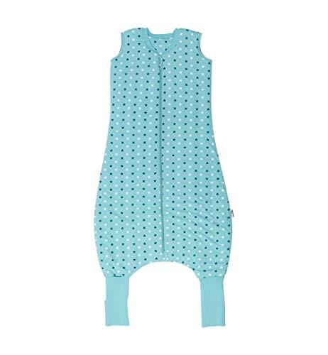 Schlafsack mit Beinen Ganzjahres-Variante mit verlängerten Bündchen zum Umklappen in 2.5 Tog - Teal Stars - 110 cm
