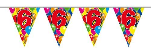 10m Girlande Zahl 6 Geburtstag Jubiläum Wimpelkette - Fahne Garten Ersten S