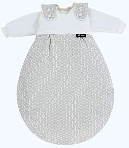 Alvi Baby Mäxchen Original | Babyschlafsack 3-teilig | Alvi Außensack & zwei Innensäcke | Kinderschlafsack mitwachsend & atmungsaktiv, Größe:68/74, Design:Raute taupe dunkel
