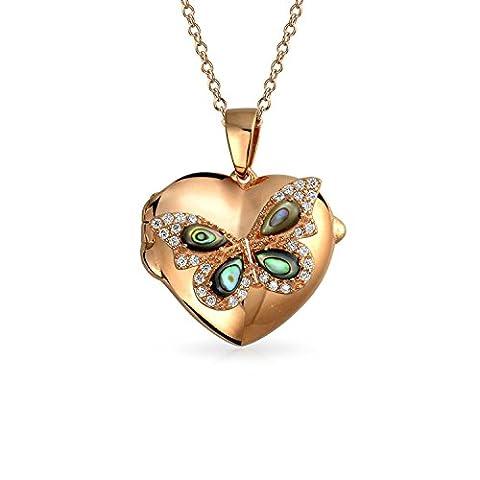 Bling Jewelry d'Haliotide CZ coeur papillon Pendentif Médaillon Shpaed Collier plaqué or rose 18 pouces