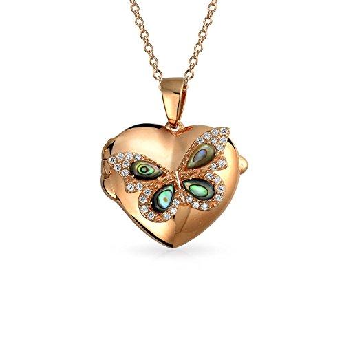 Bling Jewelry Gravierbaren Abalone Cz Schmetterling Herz Anhänger Mit Halskette Medaillon Für Damen Rose Vergoldet Sterling Silber 925