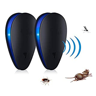 ANGTUO Ultrasonic Pest Repeller, 2Pack Upgraded Electronic Pest Control/Central Connector for Insect, Mice, Rats, Spiders, Fleas, Rear Wavy, Bed Bugs, Mosquito–People/Pet Safe