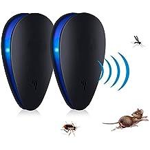 Repellente per i parassiti ad ultrasuoni, ANGTUO confezione da 2 ricaricabili di controllo dei parassiti elettronico per insetti, topi, ratti, ragni, pulci, scarafaggi, cimici dei letti, zanzare - Umano / sicurezza per animali