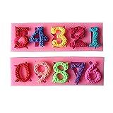 yanana 0-9 Nombres Lollipop Moule en Silicone Sugarcraft Biscuit Cookie Petit Gateau de d¨¦coration Moule Outils