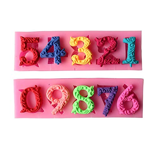 Hotaluyt 0-9 Zahlen Lollipop Schimmel Silikon Sugar Keks-Kuchen-Werkzeuge verziert Mold -