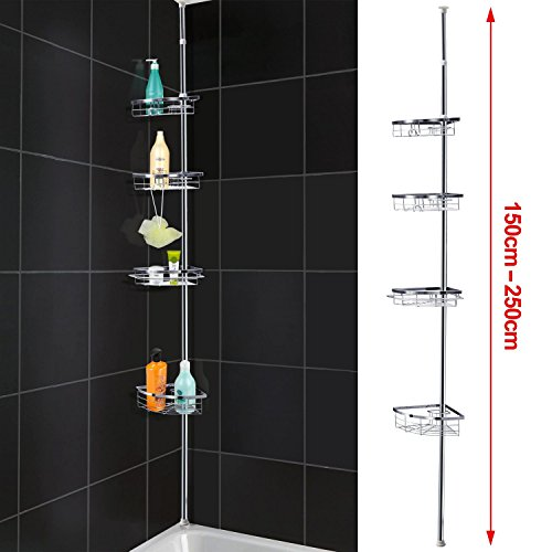 Popamazing Quality Telescopic 4 Tier Bathroom Shower Rack Corner Shelf Basket Organiser Holder Extendable