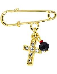 Broche para bebé de 18K chapado en oro, cruz de imitación de azabache con protección, regalo de nacimiento