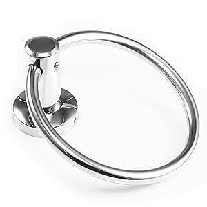 vivreal porte serviette anneau accroche support en acier inox pour salle de bain wc. Black Bedroom Furniture Sets. Home Design Ideas