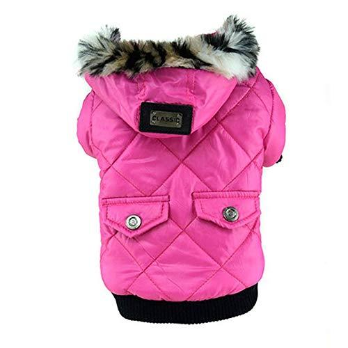 AMURAO Winter Hund Kleidung,Welpen Niedlichen Warmen Mantel Faux Taschen Pelz getrimmt Hund Hoodies Jacke Kostüm