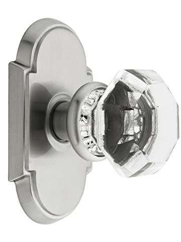 Arched Rosette Set With Old Town Crystal Knobs Privacy In Satin Nickel. Doorsets. by Emtek