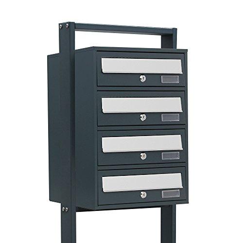 BITUXX® Design Stand-Briefkastenanlage Postkasten Letterbox Mailbox Edelstahl Briefklappe mit 4 Fächer Dunkelgrau
