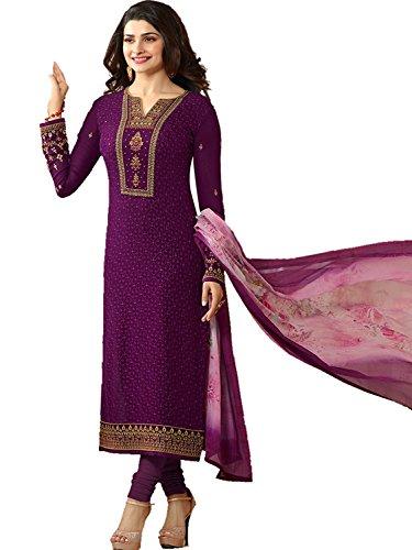 Stylish Fashion women's party wear purple Georgette semi stitched salwar suit