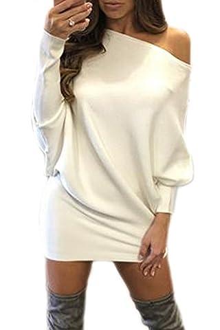 Women Elegant Boatneck Batwing Sleeve Pullover Loose Mini Knit Cardigan Sweater Dress White S